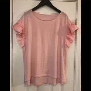 NWOT aNew Day pink ruffle sleeve top